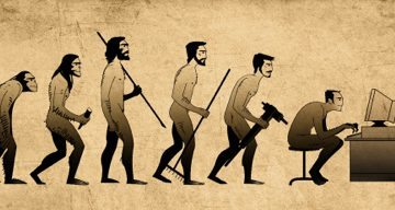Image of the evolution of man from early primate to homo sapien to a man sitting at a computer and then hunched over a smarphone